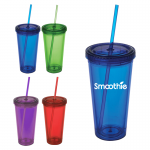 Double wall tumblers with lids and straws